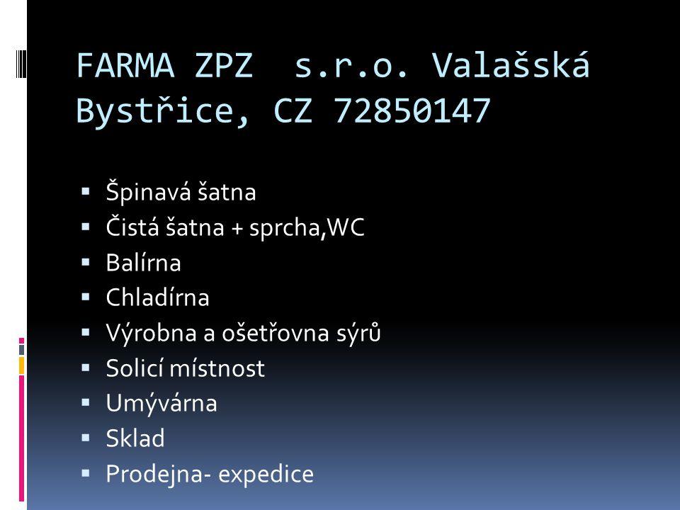 FARMA ZPZ s.r.o. Valašská Bystřice, CZ 72850147