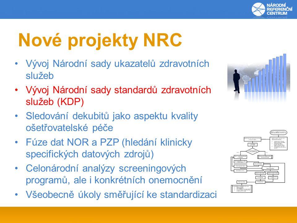 Nové projekty NRC Vývoj Národní sady ukazatelů zdravotních služeb