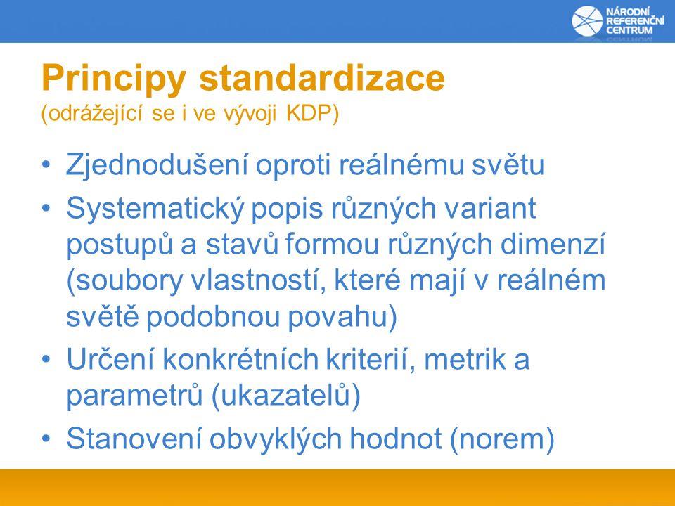 Principy standardizace (odrážející se i ve vývoji KDP)