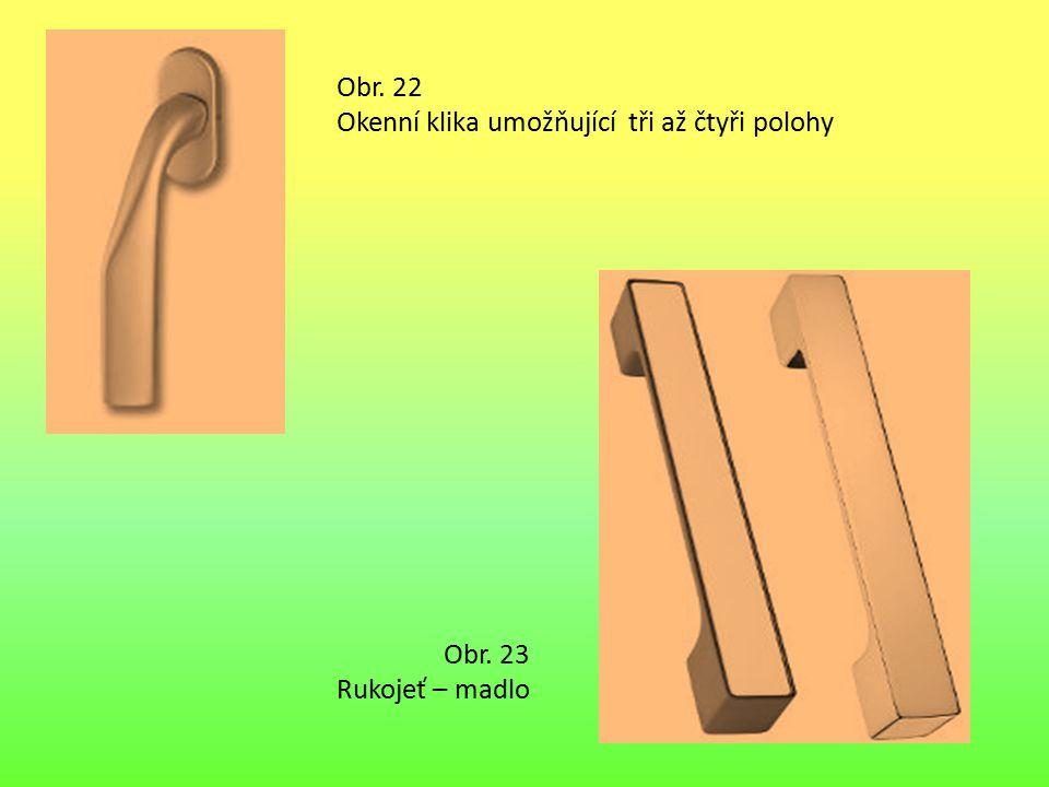 Obr. 22 Okenní klika umožňující tři až čtyři polohy Obr. 23 Rukojeť – madlo