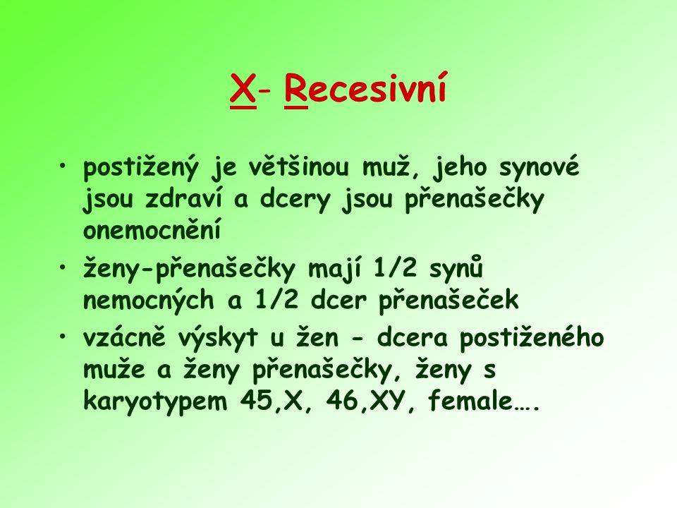 X- Recesivní postižený je většinou muž, jeho synové jsou zdraví a dcery jsou přenašečky onemocnění.