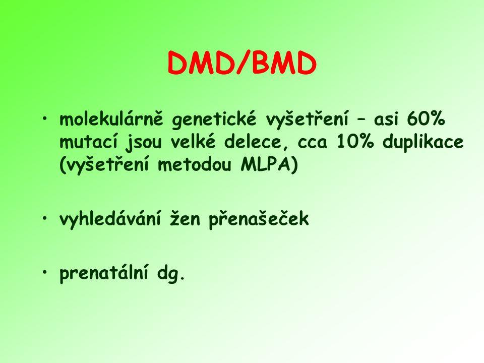 DMD/BMD molekulárně genetické vyšetření – asi 60% mutací jsou velké delece, cca 10% duplikace (vyšetření metodou MLPA)