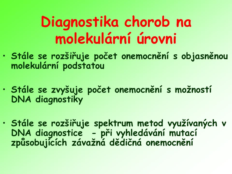 Diagnostika chorob na molekulární úrovni