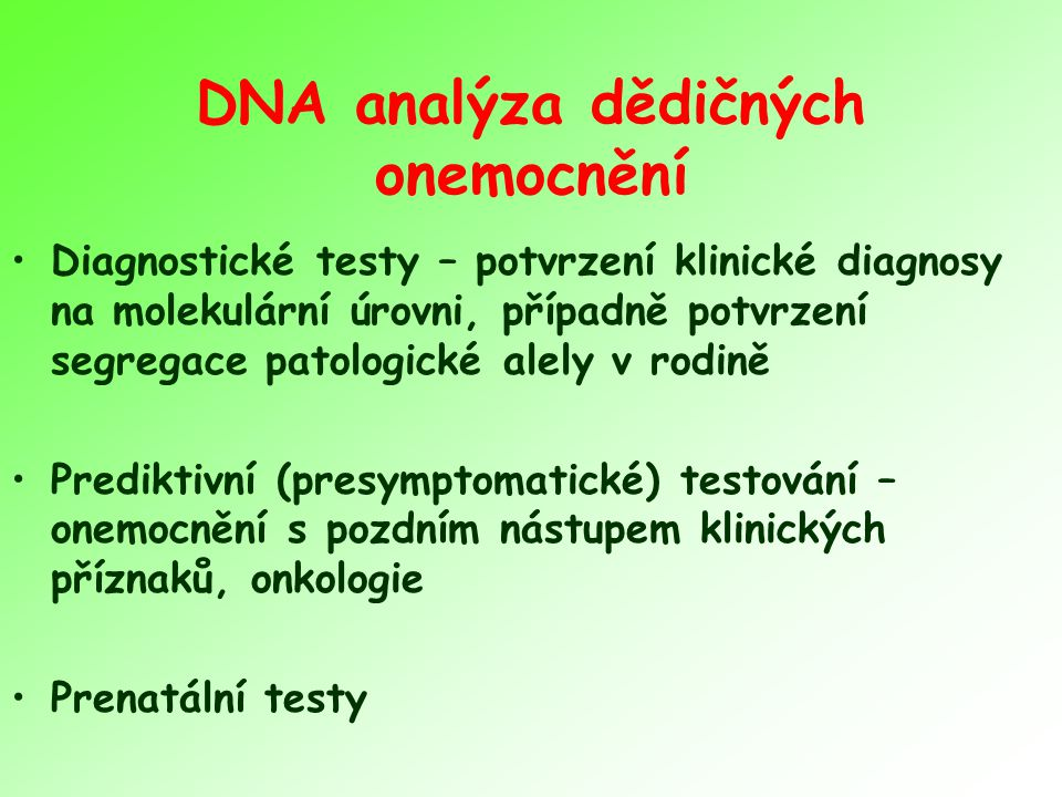 DNA analýza dědičných onemocnění
