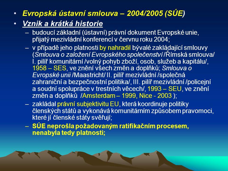 Evropská ústavní smlouva – 2004/2005 (SÚE) Vznik a krátká historie