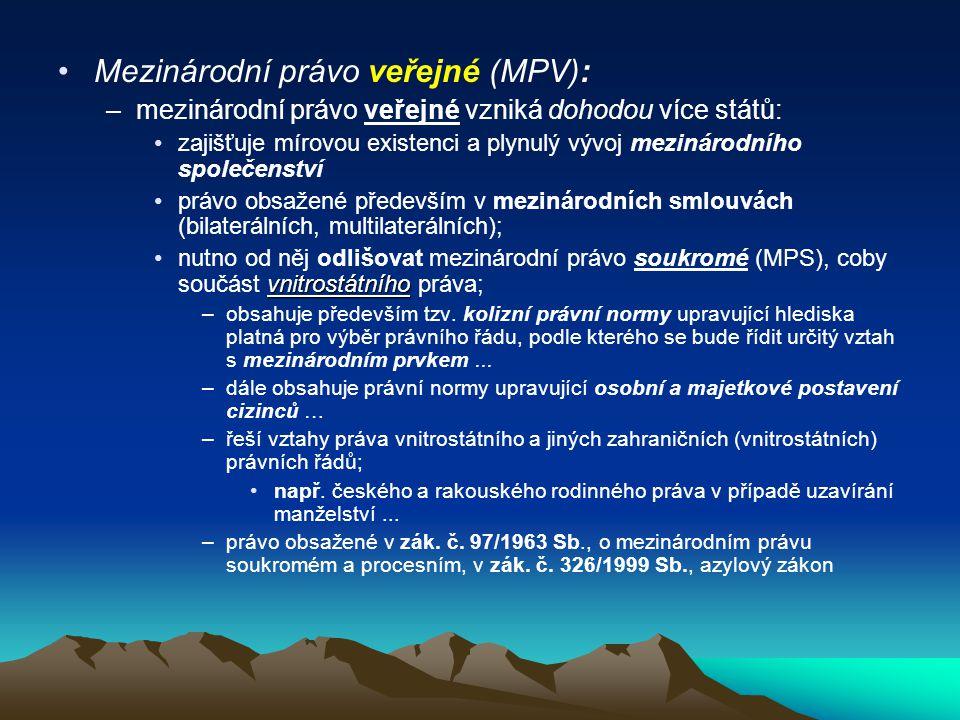 Mezinárodní právo veřejné (MPV):