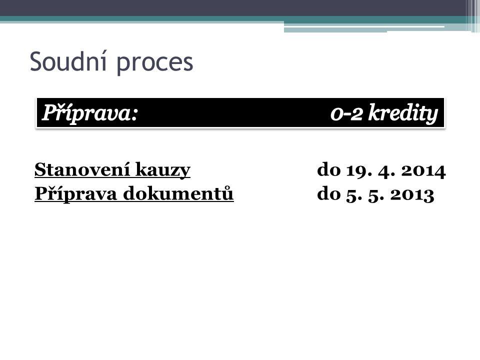 Soudní proces Příprava: 0-2 kredity Stanovení kauzy do 19. 4. 2014
