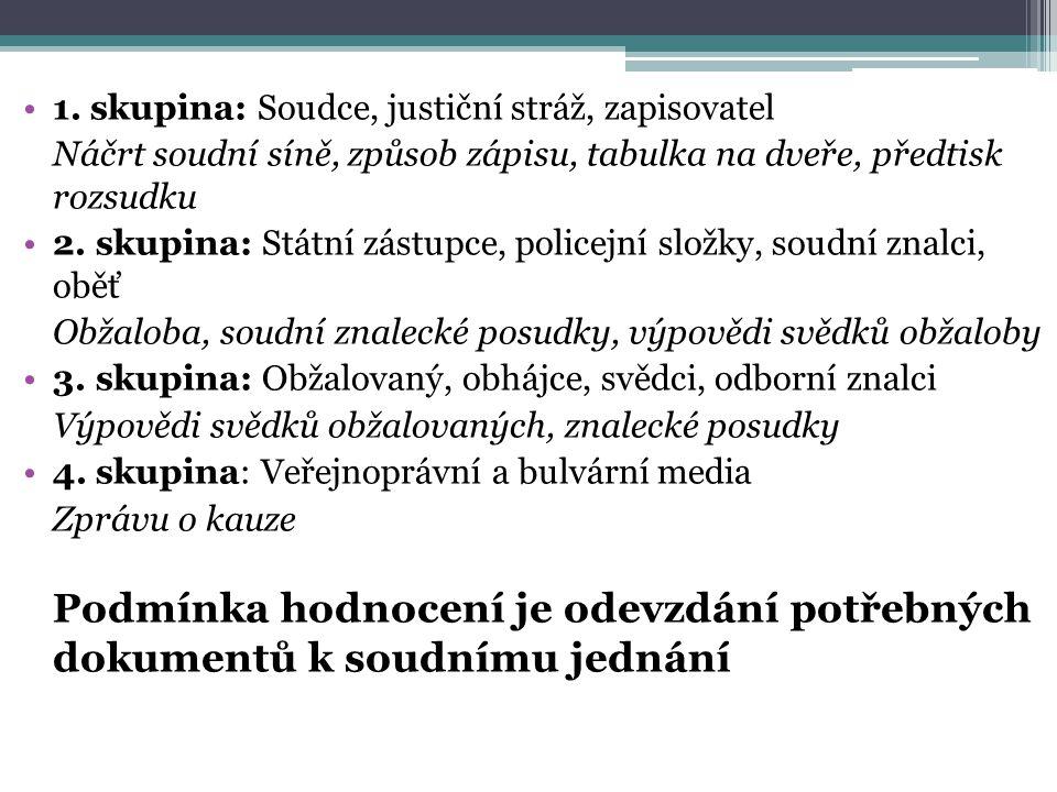 1. skupina: Soudce, justiční stráž, zapisovatel