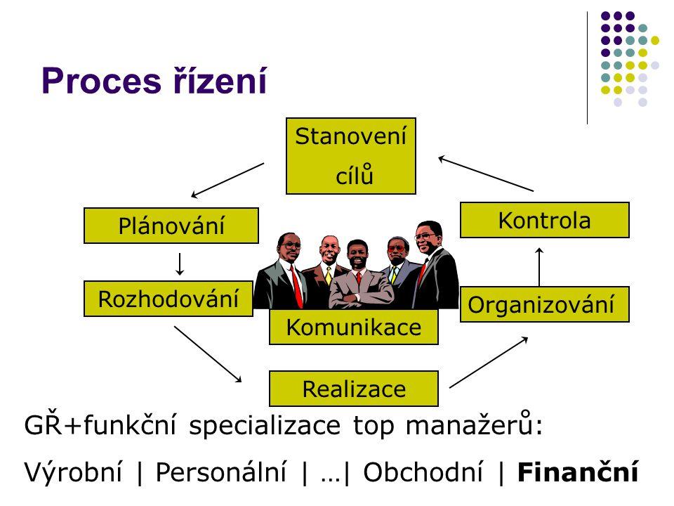 Proces řízení GŘ+funkční specializace top manažerů: