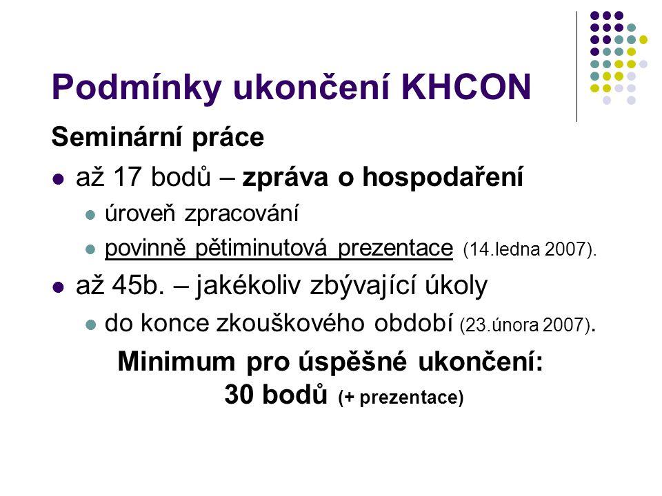 Podmínky ukončení KHCON