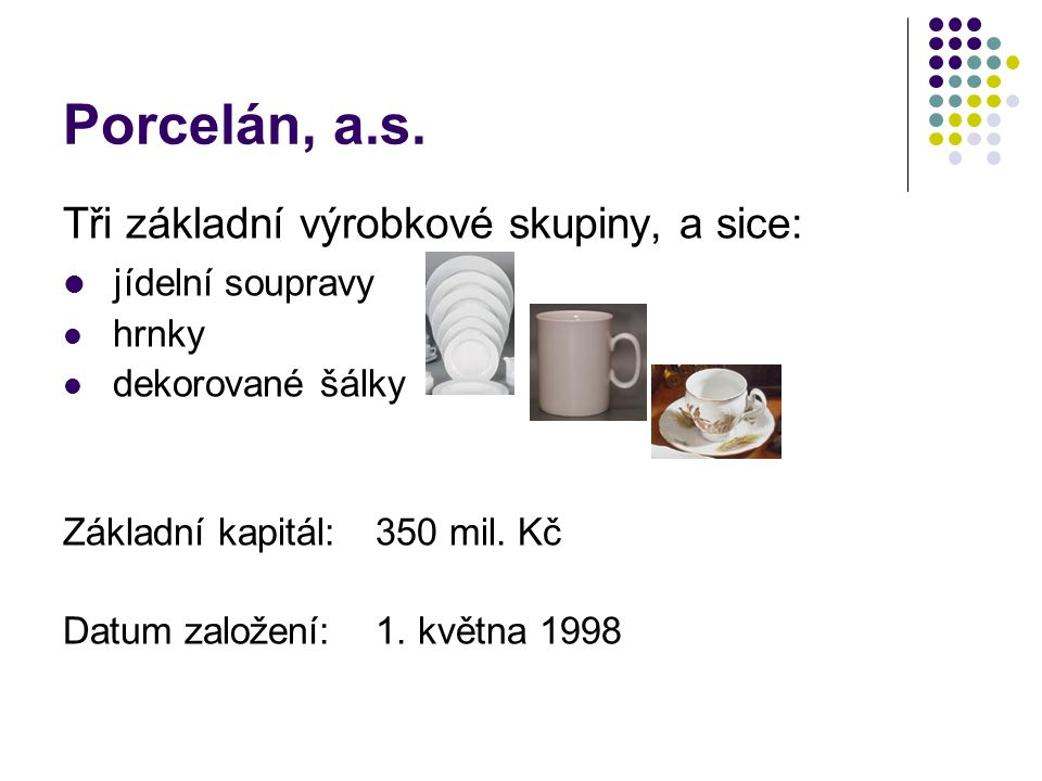 Porcelán, a.s. Tři základní výrobkové skupiny, a sice: