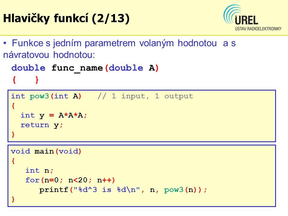 Hlavičky funkcí (2/13) Funkce s jedním parametrem volaným hodnotou a s návratovou hodnotou: double func_name(double A) { }
