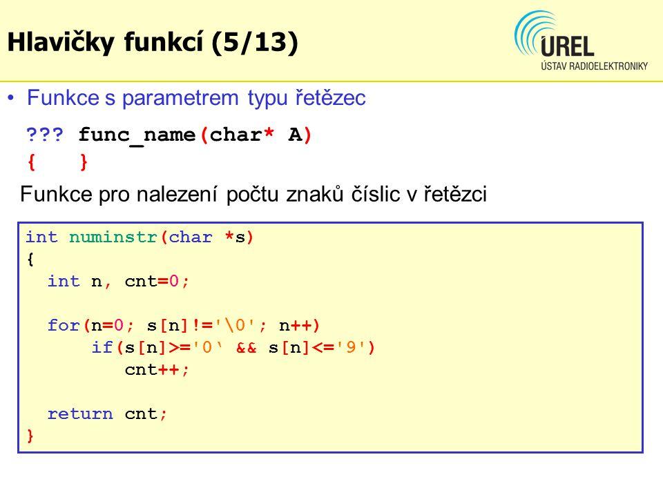 Hlavičky funkcí (5/13) Funkce s parametrem typu řetězec