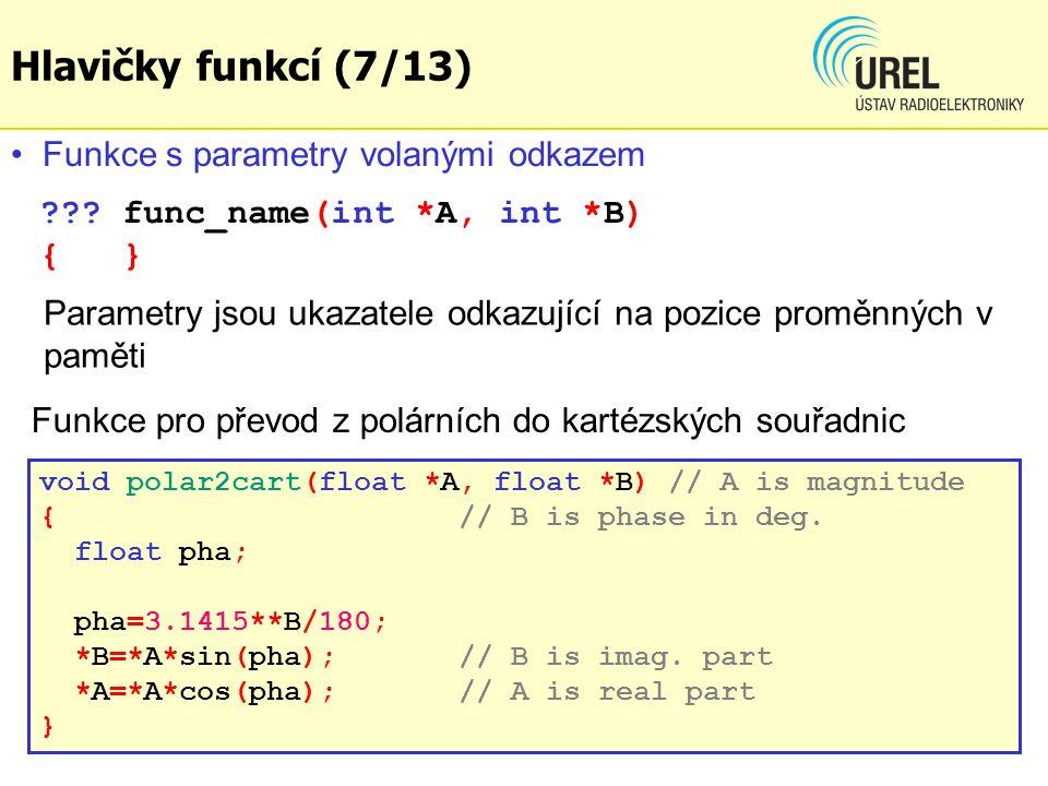 Hlavičky funkcí (7/13) Funkce s parametry volanými odkazem