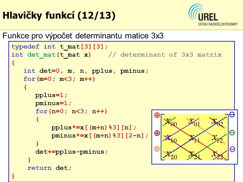 Hlavičky funkcí (12/13) Funkce pro výpočet determinantu matice 3x3
