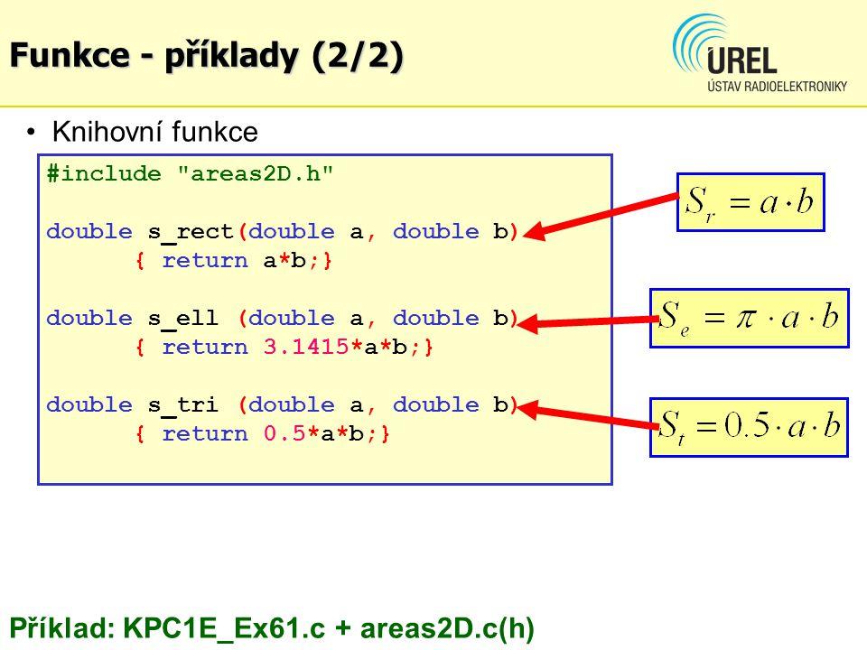Funkce - příklady (2/2) Knihovní funkce areas2D.cpp