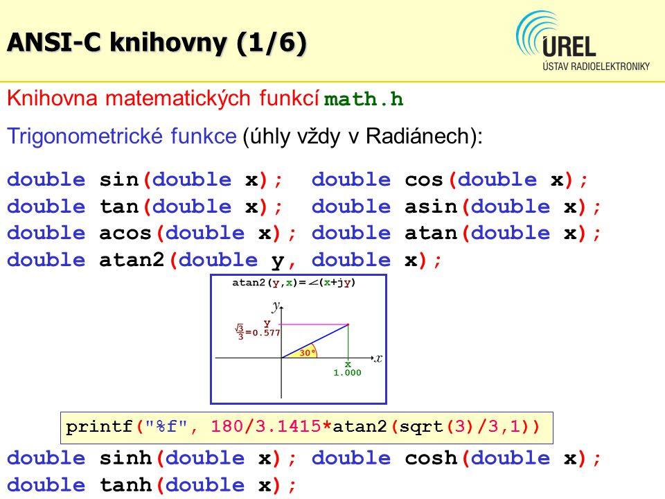 ANSI-C knihovny (1/6) Knihovna matematických funkcí math.h