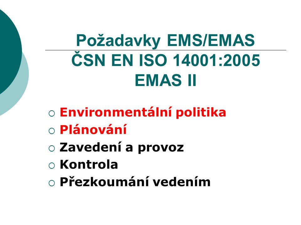 Požadavky EMS/EMAS ČSN EN ISO 14001:2005 EMAS II
