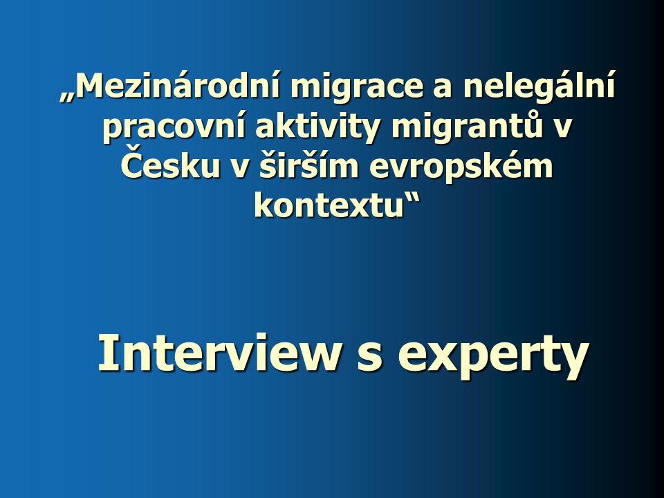 """""""Mezinárodní migrace a nelegální pracovní aktivity migrantů v Česku v širším evropském kontextu Interview s experty"""