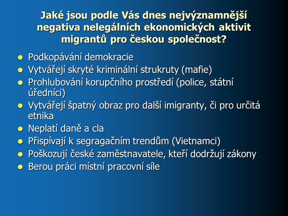 Jaké jsou podle Vás dnes nejvýznamnější negativa nelegálních ekonomických aktivit migrantů pro českou společnost