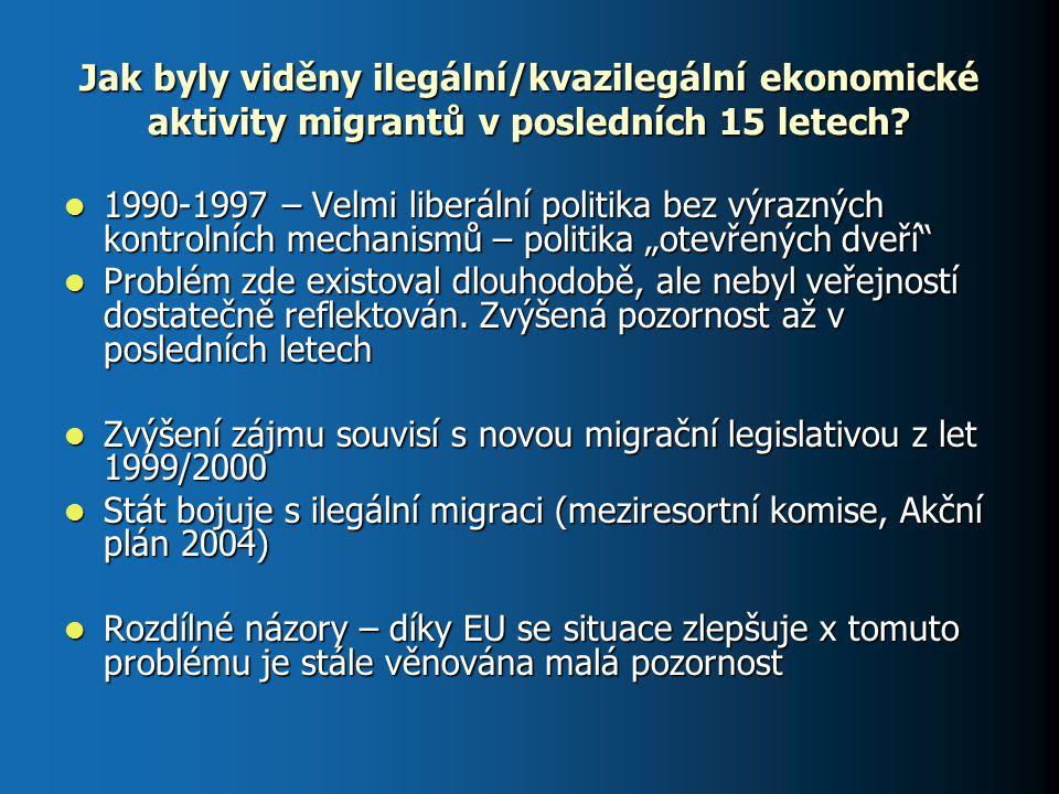 Jak byly viděny ilegální/kvazilegální ekonomické aktivity migrantů v posledních 15 letech