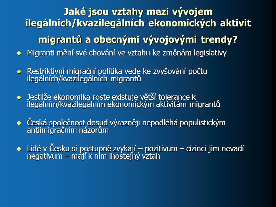 Jaké jsou vztahy mezi vývojem ilegálních/kvazilegálních ekonomických aktivit migrantů a obecnými vývojovými trendy