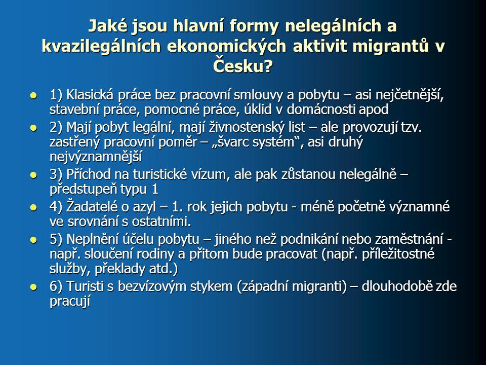 Jaké jsou hlavní formy nelegálních a kvazilegálních ekonomických aktivit migrantů v Česku