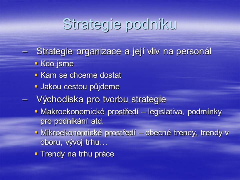 Strategie podniku Strategie organizace a její vliv na personál