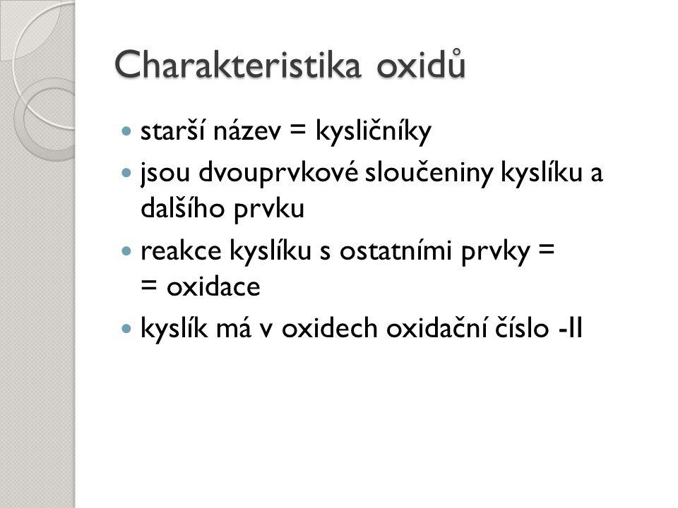 Charakteristika oxidů