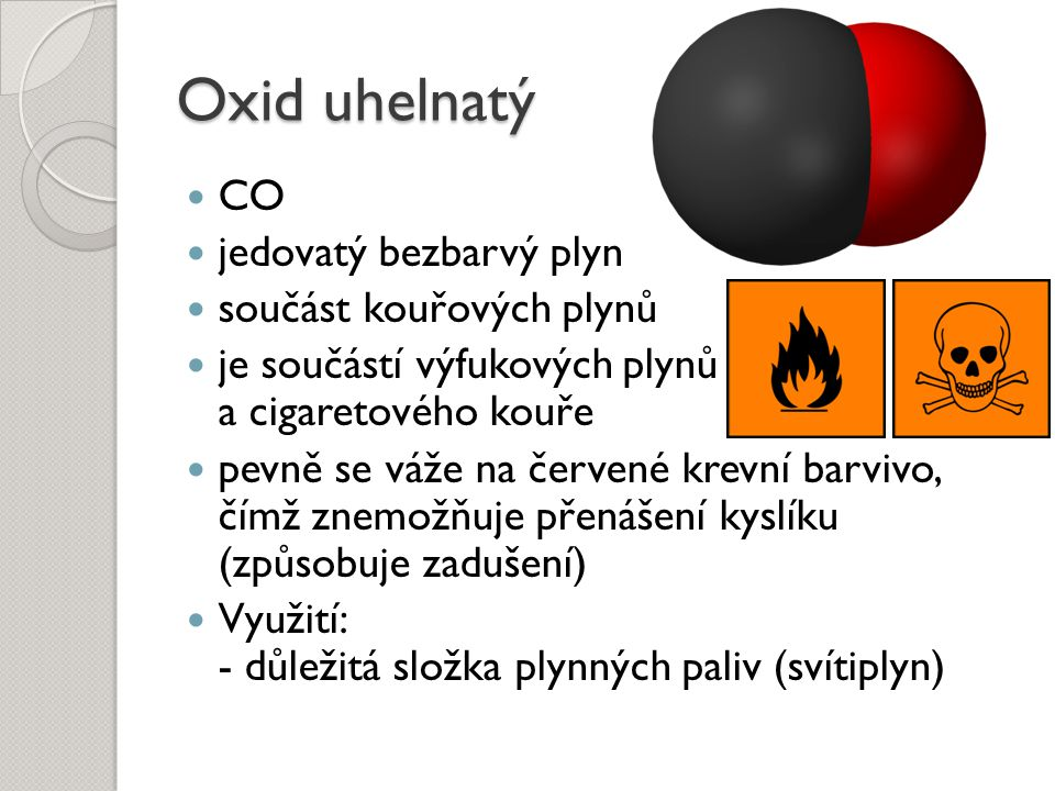 Oxid uhelnatý CO jedovatý bezbarvý plyn součást kouřových plynů
