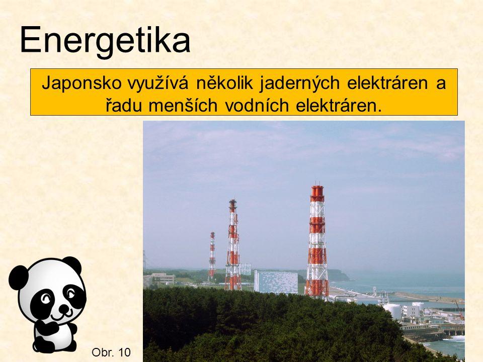 Energetika Japonsko využívá několik jaderných elektráren a řadu menších vodních elektráren. Obr. 10