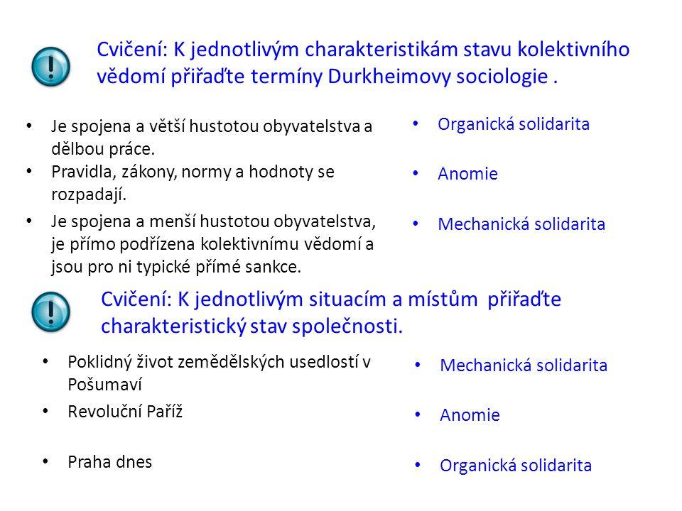 Cvičení: K jednotlivým charakteristikám stavu kolektivního vědomí přiřaďte termíny Durkheimovy sociologie .
