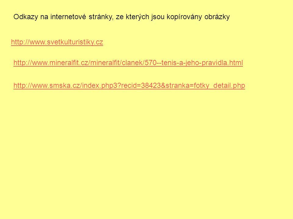 Odkazy na internetové stránky, ze kterých jsou kopírovány obrázky