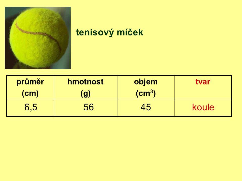 tenisový míček 6,5 56 45 koule průměr (cm) hmotnost (g) objem (cm3)