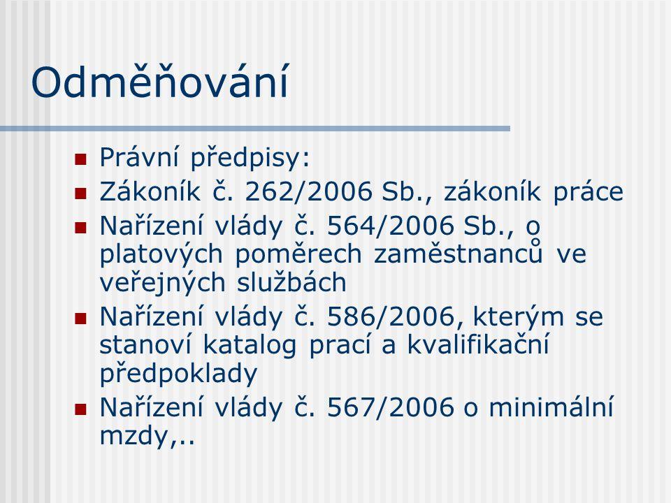 Odměňování Právní předpisy: Zákoník č. 262/2006 Sb., zákoník práce