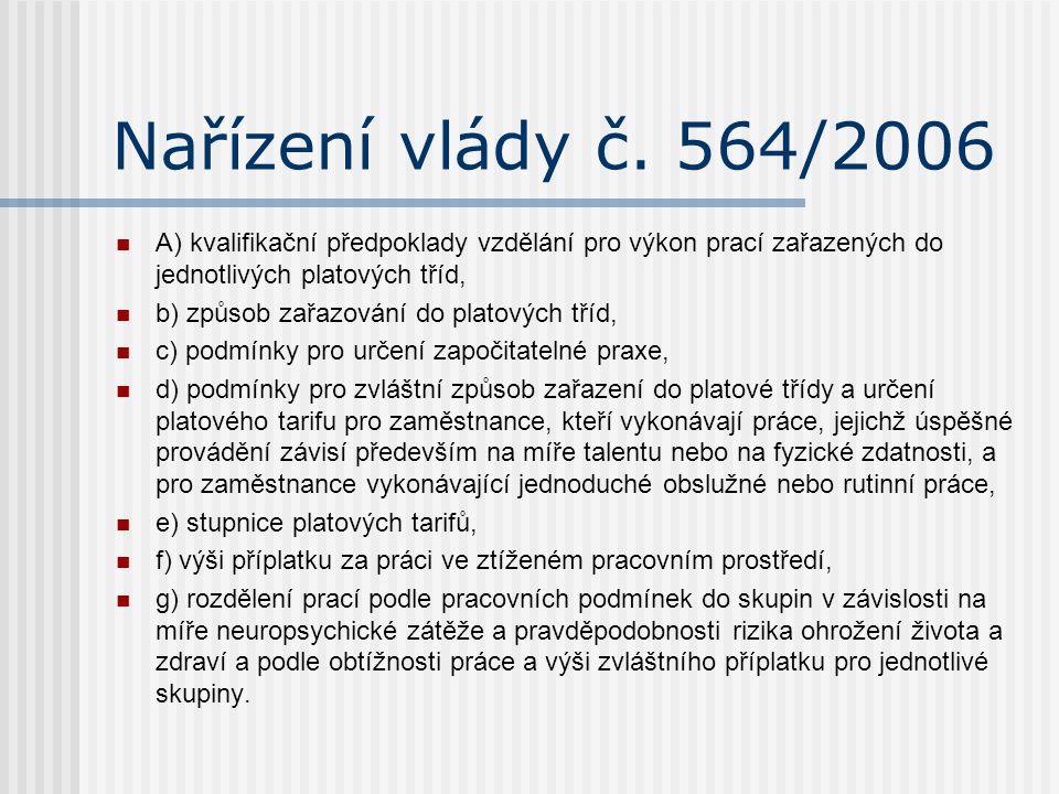 Nařízení vlády č. 564/2006 A) kvalifikační předpoklady vzdělání pro výkon prací zařazených do jednotlivých platových tříd,