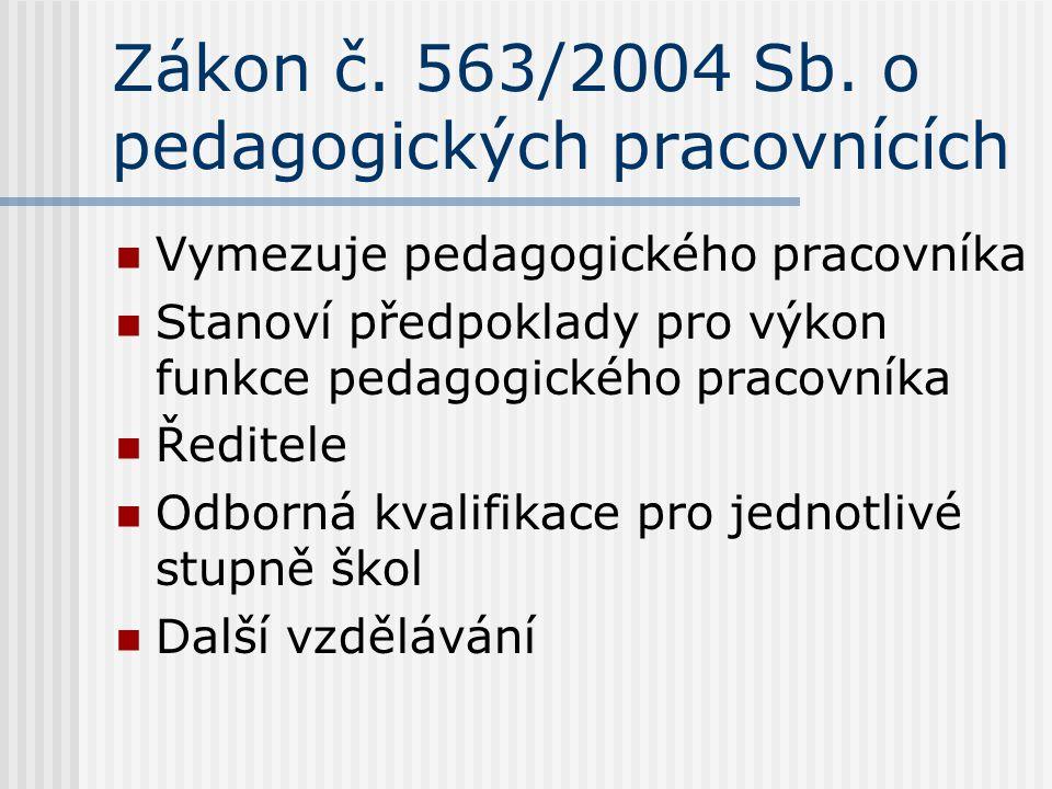 Zákon č. 563/2004 Sb. o pedagogických pracovnících