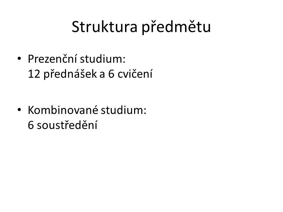 Struktura předmětu Prezenční studium: 12 přednášek a 6 cvičení