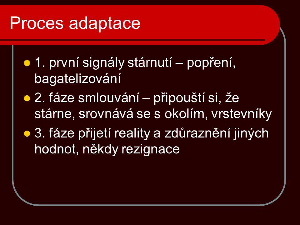 Proces adaptace 1. první signály stárnutí – popření, bagatelizování