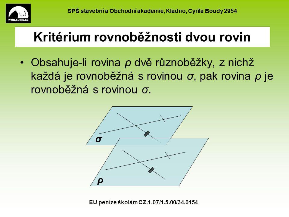 Kritérium rovnoběžnosti dvou rovin