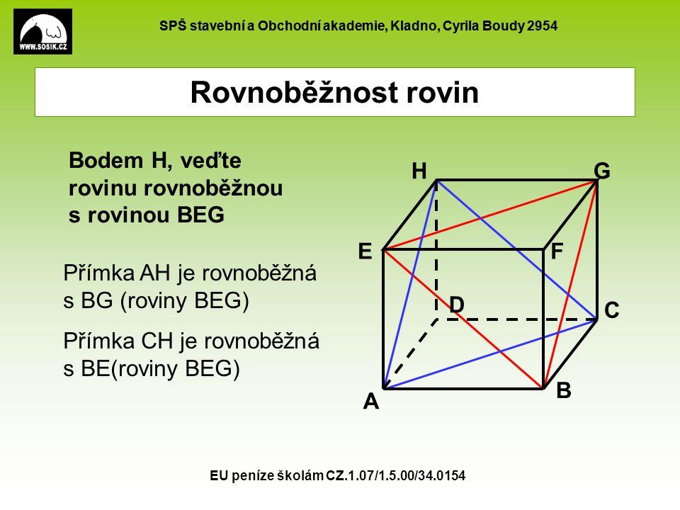 Rovnoběžnost rovin Bodem H, veďte rovinu rovnoběžnou s rovinou BEG A B