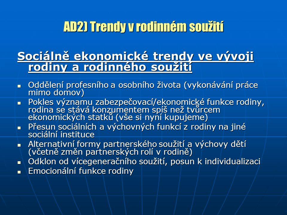 AD2) Trendy v rodinném soužití