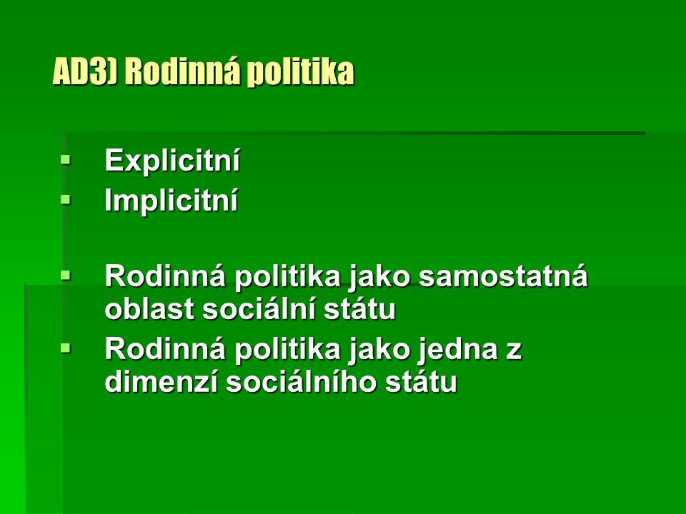 AD3) Rodinná politika Explicitní Implicitní