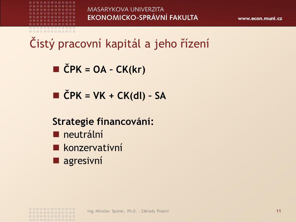 Čistý pracovní kapitál a jeho řízení