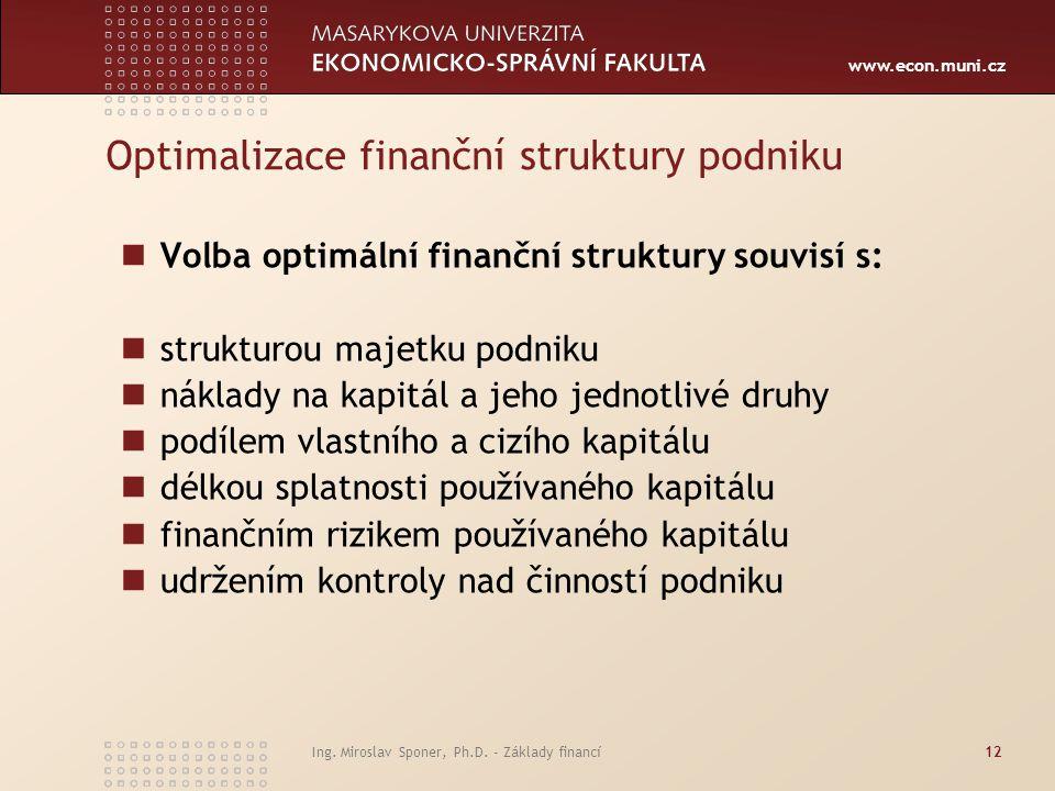 Optimalizace finanční struktury podniku