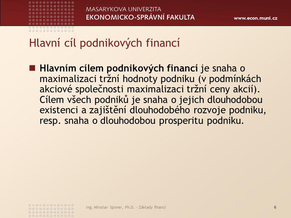 Hlavní cíl podnikových financí
