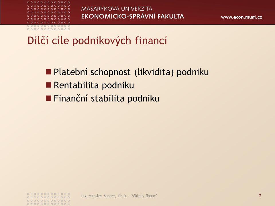 Dílčí cíle podnikových financí