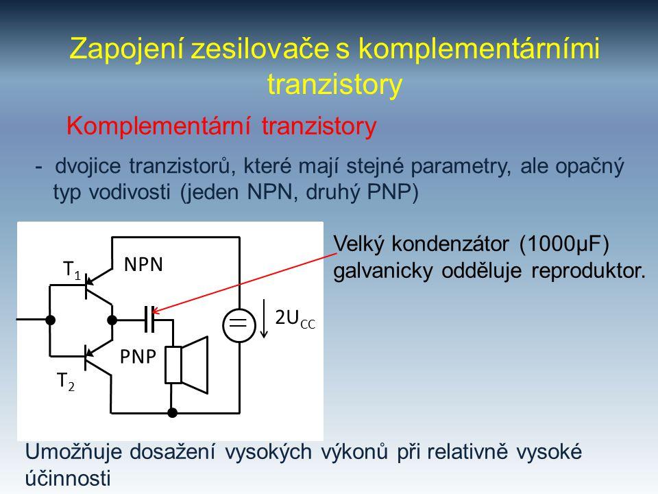Zapojení zesilovače s komplementárními tranzistory