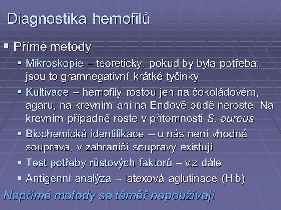 Diagnostika hemofilů Přímé metody Nepřímé metody se téměř nepoužívají