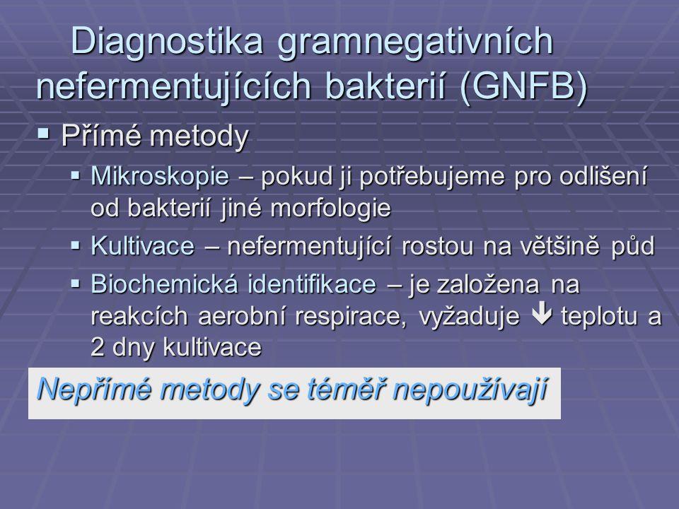 Diagnostika gramnegativních nefermentujících bakterií (GNFB)